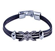 Fashion Men'S Leather X Shape Alloy  Bracelet