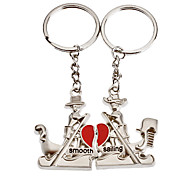 1-Pair Aluminum Boat Couple Keychain