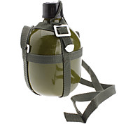 Outdoor Aluminum Military Water Bottle with Shoulder Strap (Army Green,1.5L)
