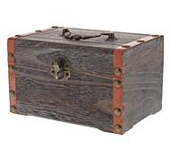 Vintage Brown Wood Jewelry Accessories Storage Box