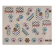 3PCS Mixed-style 3D Metal Nail Art Stickers NYC Series No.13 Cartoon