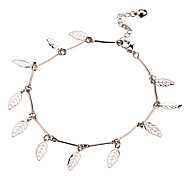 Hollow Out Leaf Pendant Metal Anklet(Platinum)