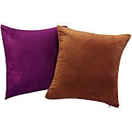 Juego de 2 Solid almohada cubierta decorativa gamuza sintética