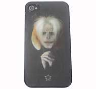 3D Effect White Hair Pastor Pattern Hard Case for iPhone 4/4S