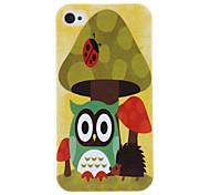 Owl and Pattern champignons Housse de protection rigide pour iPhone 4/4S