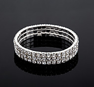 Three Layers Ladies' Rhinestone Tennis Bracelet In Silver Alloy