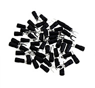 Copper Cable Wire Fork Terminal Connector - Black + Silver (4.5MM / 50 Piece Pack)