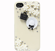 Zircon Hat and Bag Pattern Hard Case for iPhone 4/4S(Random Colors)