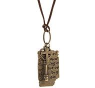 Inglés Cartas Documento en cruz colgante de collar de cuero cable