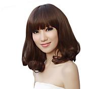 Capless Medium Light Brown Full Bang Wavy Synthetic Fiber Wigs