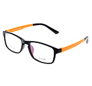 LAI ZI Unisex Transparent Lens Black & Orange Frame Optical Glasses