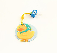 Cartoon Rubber Duck Anti-Dust Earphone Jack with Mobil Phone Screen Cloth