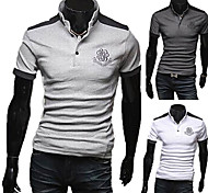 Men's Contrast Color Thin Stand POLO Shirt