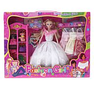 Fashion Girl Barbie Doll Wardrobe with Four Dresses and Accessories (Model:6123)
