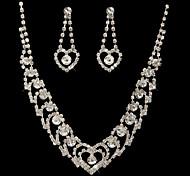 meraviglioso il ceco strass lega placcata nozze gioielli di sposa, tra collana e orecchini
