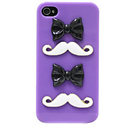 Stereo bowknot Schnurrbart Pattern Hard Case für iPhone 4/4S (Purple)
