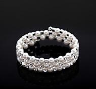 rhinestone damas cadena / de tenis pulsera en blanco perla