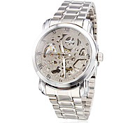 WINNER® Men's Auto-Mechanical Silver Skeleton Steel Band Wrist Watch Cool Watch Unique Watch