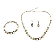 The Turriform Hardware Pearl Earring Bracele Necklace Set