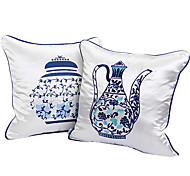 Set of 2 Blue and White Porcelain Pot Design Decorative Pillow Cover