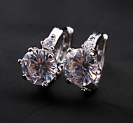 Eruner®Silver Plated Alloy Diamond Shaped Crystal Earrings
