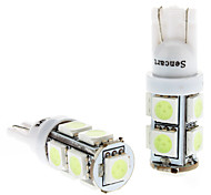 T10 1.5W 9x5050SMD Ice Blue Light LED Bulb for Car Instrument/License Plate/Turn Signal Lamps (DC 12V, 1-Pair)