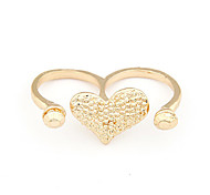 Alloy Heart Paattern Double Rings (Assorted Colors)