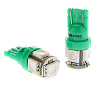 T10 1W 5x5050SMD Green Light Bulb LED per auto Side Marker Lamps (DC 12V, 1-Pair)