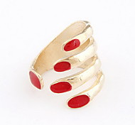 Gold Pltaed Alloy Hand Pattern Opening Ring