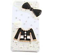 Cute Pearl Clothes Bowknot Pattern Hard Case for iPhone 5/5S(White)