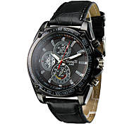 Men's Racing Design Black Dial PU Leather Band Quartz Wrist Watch Cool Watch Unique Watch
