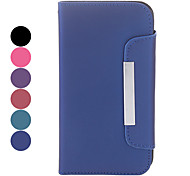 For Samsung Galaxy Case Card Holder / Flip Case Full Body Case Solid Color PU Leather Samsung S4
