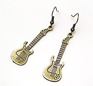 Vintage Alloy Guitar Pattern Earrings