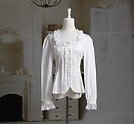 De manga larga de ajuste de la colmena de escote cuadrado de algodón blanco Sweet Lolita Blusa con Volantes
