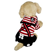Dog Clothes/Jumpsuit Red / Black Spring/Fall Stripe / Nautical