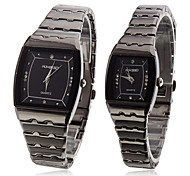 Pair of Alloy Analog Quartz Couple's Wrist Watch (Black)
