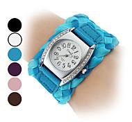 Frauen Fabric analoge Quarz-Armbanduhr (farbig sortiert)