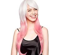 sem tampa de alta qualidade sintético branco e rosa peruca festa longa e reta