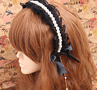 Handmade Pearls Black Lace Gothic Princess Lolita Headband With Beads Chain