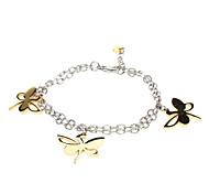 Trois Libellule Pendentif Double bracelet de couleur
