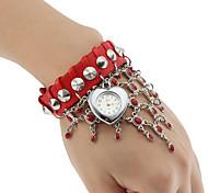 Women's Quartz Analog Heart Shaped Case Leather Band Bracelet Watch (Assorted Colors)