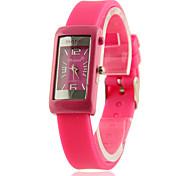 Frauen quadratische Zifferblatt Silicon Band Lässige analoge Quarz-Armbanduhr (Pink)