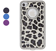 Diamond Frame Leopard Print Hard Case for iPhone 4/4S (Assorted Colors)