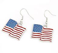Versilbert Alloy USA Flagge Muster Ohrringe
