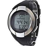 Unisex Heart Rate Monitor Silver Frame Black Silicone Band Digital Wrist Watch with Calorie Counter Cool Watch Unique Watch