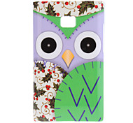 Staring Cartoon Owl with Purple Face and Cherry Wings Pattern Hard Case for LG E400 Optimus L3