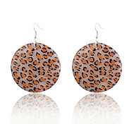 Europestyle Leopard Print Shining Powder Wafer Alloy Drop Earrings