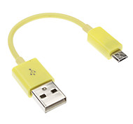 USB 2.0 Male to Micro USB 2.4 Male Cable Yellow for NOKIA HTC BlackBerry(0.1M)