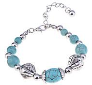 Vintage Style Antique Silver Turqoise Bobble Bracelet