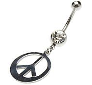 Нержавеющая сталь Символ мира кольца пупка